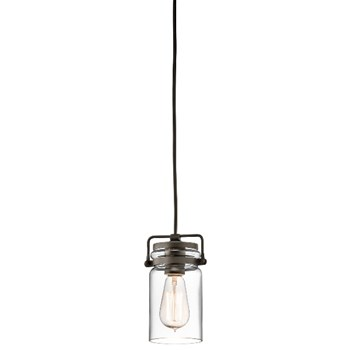Elstead Brinley  Mini Pendant Light with Glass Shade, Olde Bronze