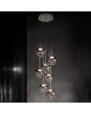 Studio Italia Design  Kelly Cluster  SO3 7 Spheres Suspension Light, Bronze