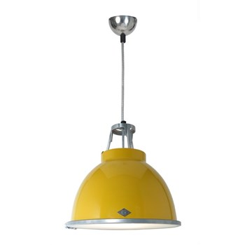 Original BTC Titan  Pendant Light with Etched Glass, Yellow
