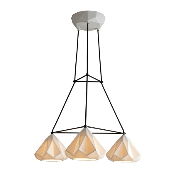 Hatton 1 Triangular Grouping Pendant Light With Black Braided Cable