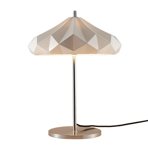 Hatton 4 Chrome Base Table Lamp Multi Faceted Bone China Shade