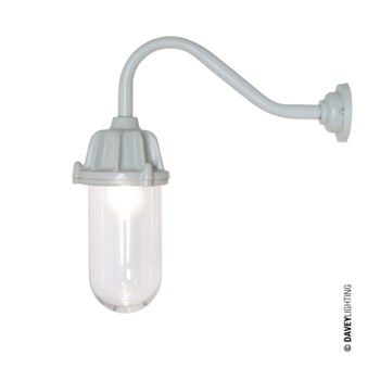 Original BTC Dockside  Wall Light No Reflector Putty Grey, Clear Glass