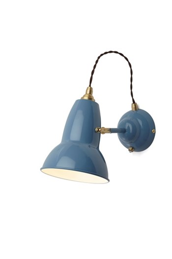 Anglepoise Original 1227 Brass  Wall Light With Flexible Shade, Dusty Blue