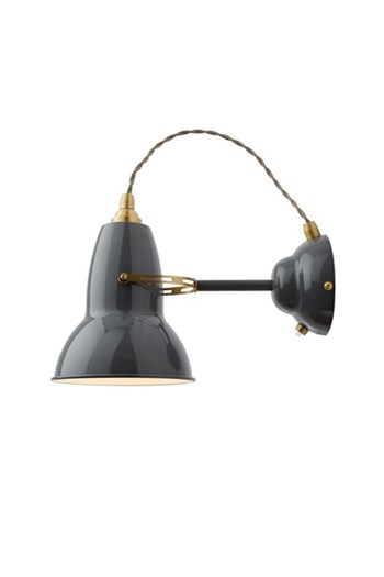 Anglepoise Original 1227 Brass  Wall Light With Flexible Shade, Elephant Grey