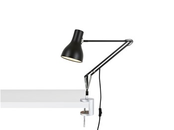 Anglepoise Type 75  Adjustable Desk Lamp with Clamp and Spring, Jet Black