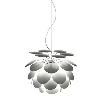 Marset Discoco  53, Pendant With Opaque Discs On Chrome Sphere, White