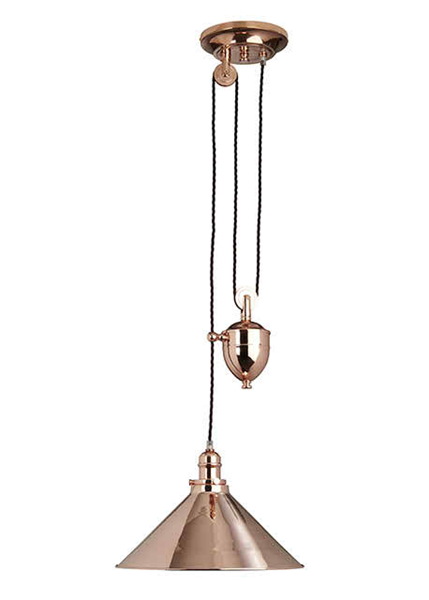 Provence 1 Light Rise and Fall Pendant Polished Copper