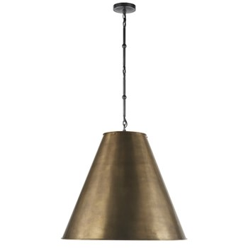 Visual Comfort Goodman  Hanging Lamp with Bronze Shade, Antique Brass