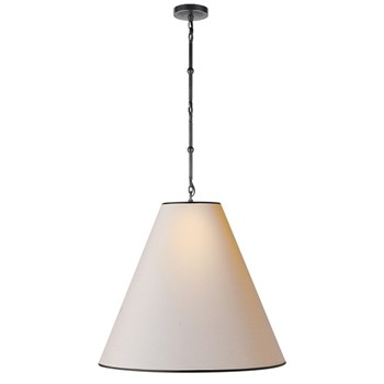 Visual Comfort Goodman  Large Hanging Lamp with Shade and Black Tape, Bronze