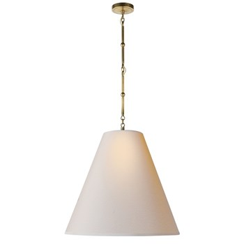 Visual Comfort Goodman  Hanging Lamp in Hand Rubbed Antique Brass, Natural Paper