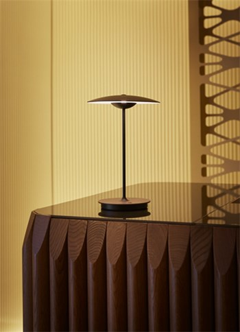 Marset Ginger  M, Table Lamp With Wood Diffuser, Wenge