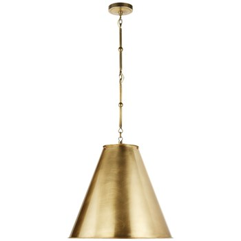 Visual Comfort Goodman  Medium Hanging Light with Antique Brass Shade, Hand-Rubbed Antique Brass
