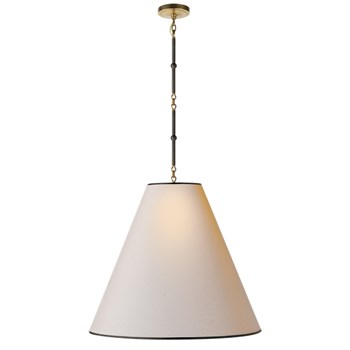 Visual Comfort Goodman  Large Hanging Lamp with Shade and Black Tape, Bronze with Antique Brass