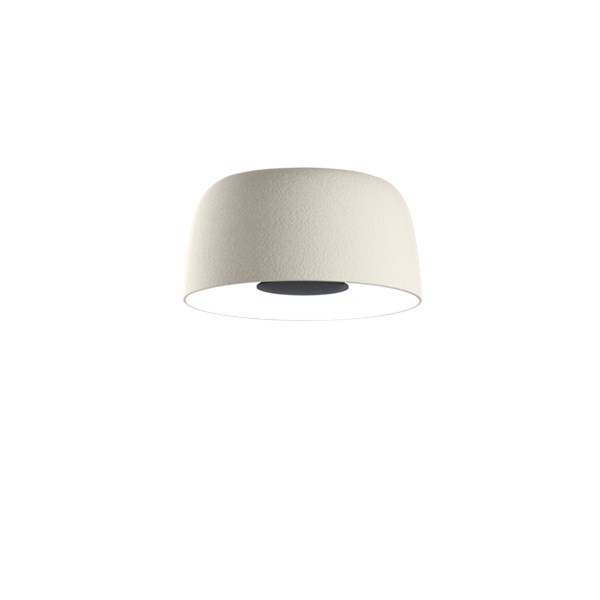 Marset Djembe  C 42.28 Large LED Ceiling Surface with Stone Texture Outer and smooth Satin White Inner