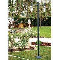 Montana Model 4 Double Arm Clear Glass & Copper Shade Lamp Post Cast Aluminium Pole