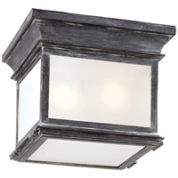 Club Small Square Flush Mount Weathered Zinc Frosted Glass