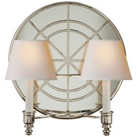 Global Double Arm Wall Light Polished Nickel Natural Paper Shades