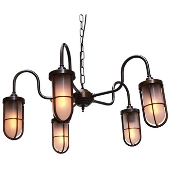 Mullan Dune  Chandelier Light Fitting in Antique Brass, Frosted Glass