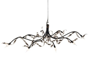 Jacco Maris Ruban Plié  Chandelier Oval, 8 Light, Stainless Steel